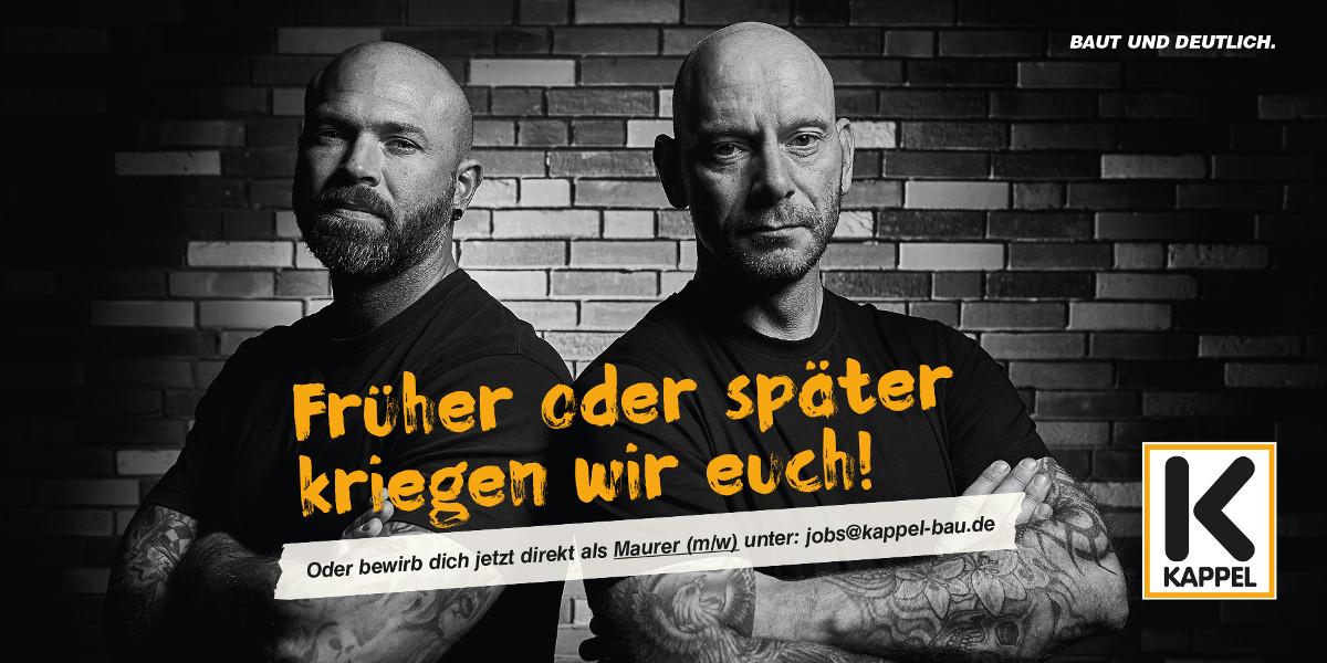 Bewirb dich jetzt direkt als Maurer (m/w) unter: jobs@kappel-bau.de